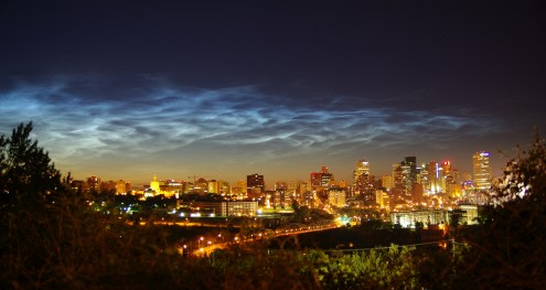 High, rare, noctilucent clouds on Canada day over Edmonton, AB